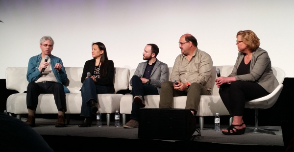 L to R: Rod Bogart, HBO; Annie Chang, Disney; Chris Clark, Neflix; Thad Beier, Dolby; Andrea Kalas, AMIA 2016 Future of Cinema Conference, NAB, The Future of Mastering